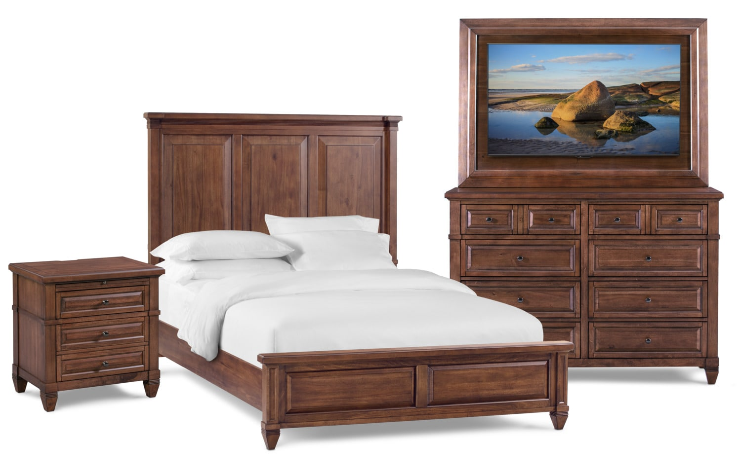 Rosalie 6-Piece Bedroom Set with TV Mount, Dresser and Mirror