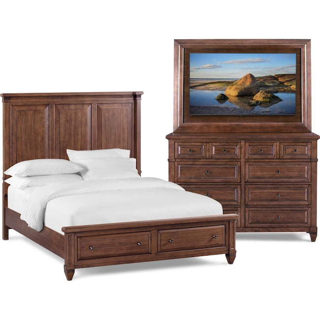 Bedroom Furniture - Rosalie 5-Piece Storage Bedroom Set with TV Mountwith Dresser and Mirror