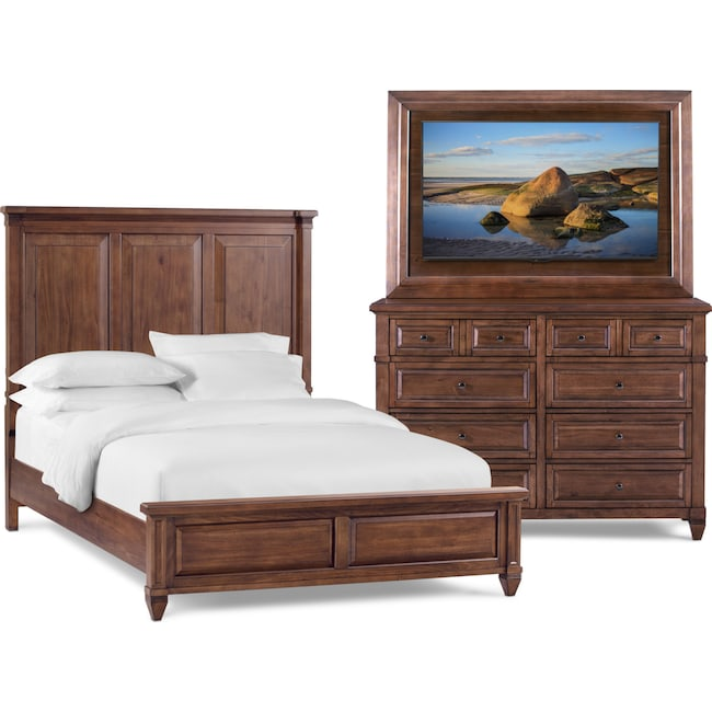 Bedroom Furniture - Rosalie 5-Piece Bedroom Set with TV Mount with Dresser and Mirror