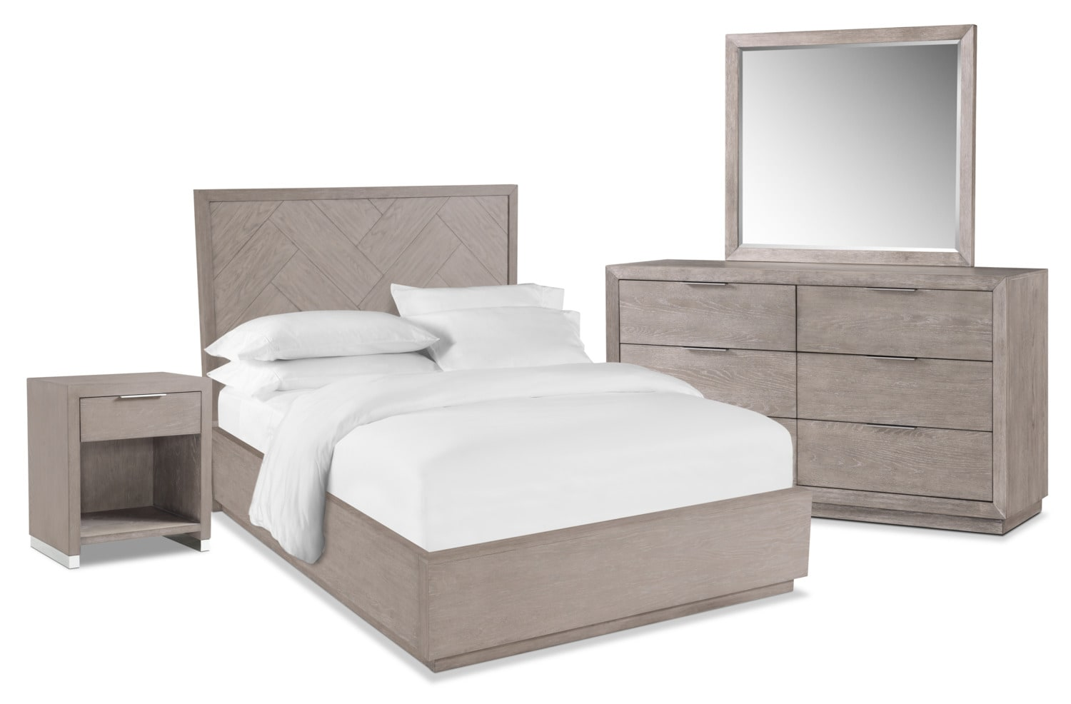 Zen 6-Piece Bedroom Set with Nightstand, Dresser and Mirror
