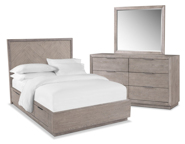Zen 5-Piece Storage Bedroom Set with Dresser and Mirror