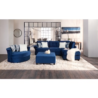 Cordelle 2-Piece Sectional with Chaise and Cocktail Ottoman Set