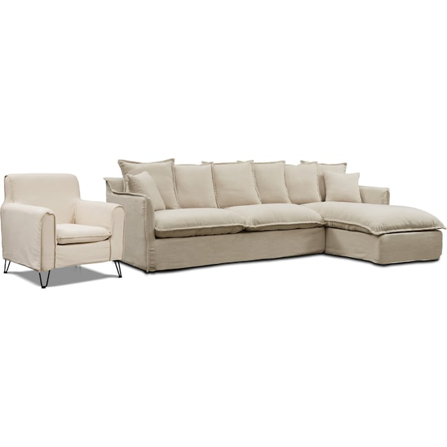 Living Room Furniture - Reid 2-Piece Sectional with Chaise and Accent Chair