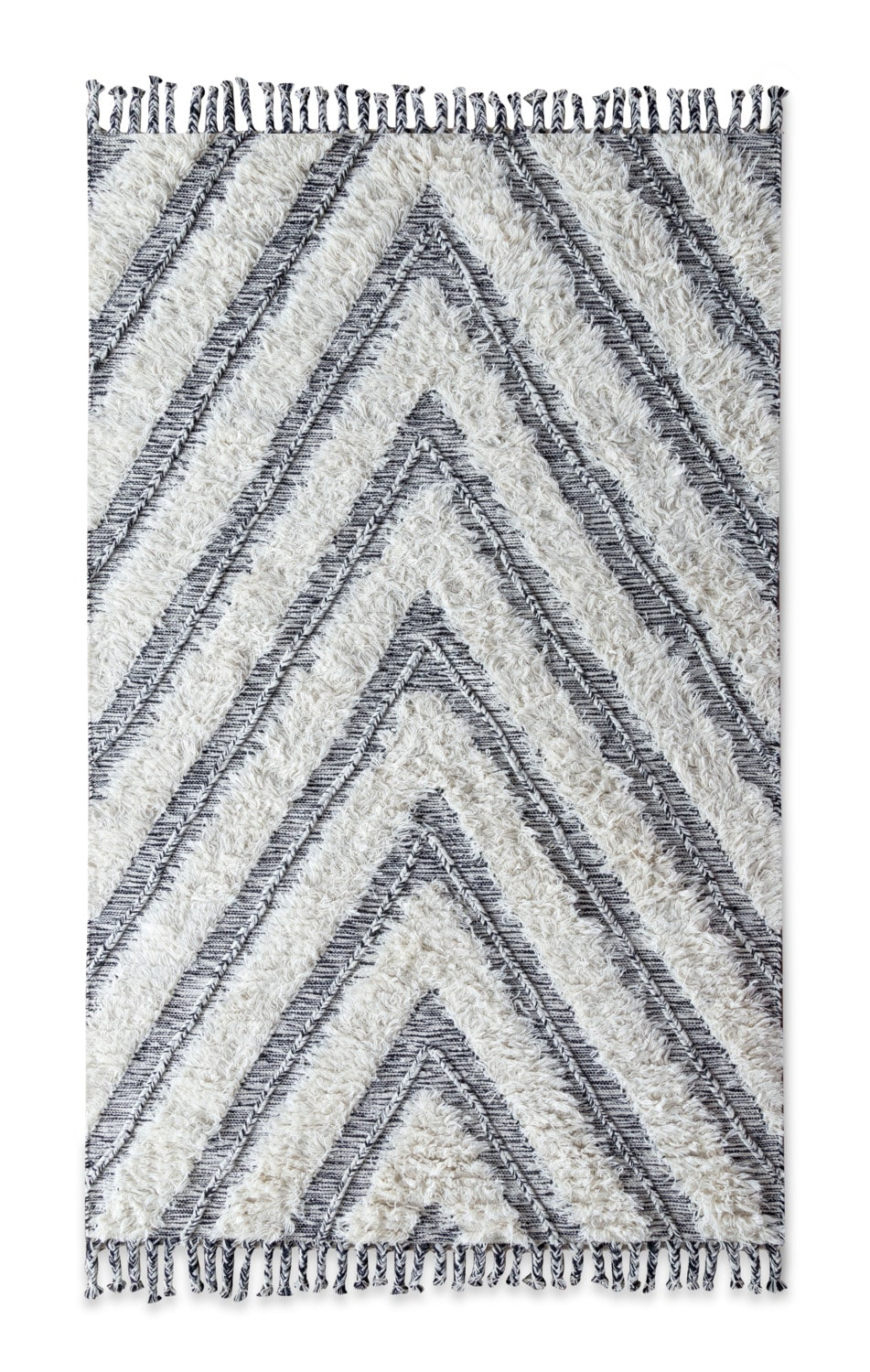 Rugs - Estes Shag 8' x 10' Area Rug - Ivory and Black