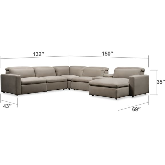 Living Room Furniture - Happy 6-Piece Dual Power Reclining Sectional with Right-Facing Chaise and 2 Reclining Seats- Shitake