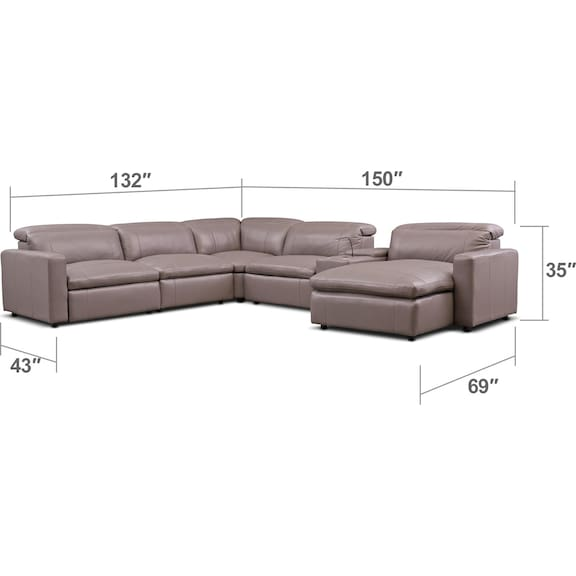 Living Room Furniture - Happy 6-Piece Dual-Power Reclining Sectional with Chaise and 2 Reclining Seats