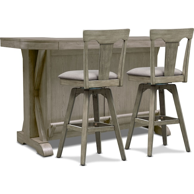 Dining Room Furniture - Maxton Bar and 2 Stools - Graystone