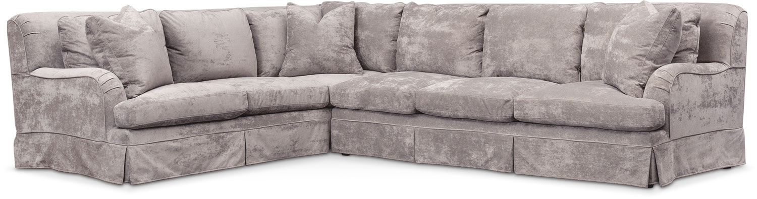 Living Room Furniture - Campbell Cumulus 2-Piece Large Sectional with Right-Facing Sofa - Cement