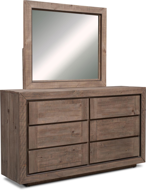 Bedroom Furniture - Henry Dresser and Mirror - Rustic Brown