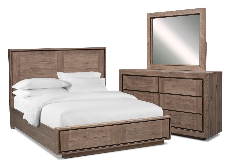 Bedroom Furniture - Henry 5-Piece Storage Bedroom Set with Dresser and Mirror