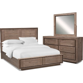 Henry 5-Piece King Storage Bedroom Set - Rustic Brown
