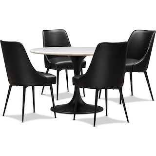Lillian Marble Dining Table and 4 Upholstered Dining Chairs