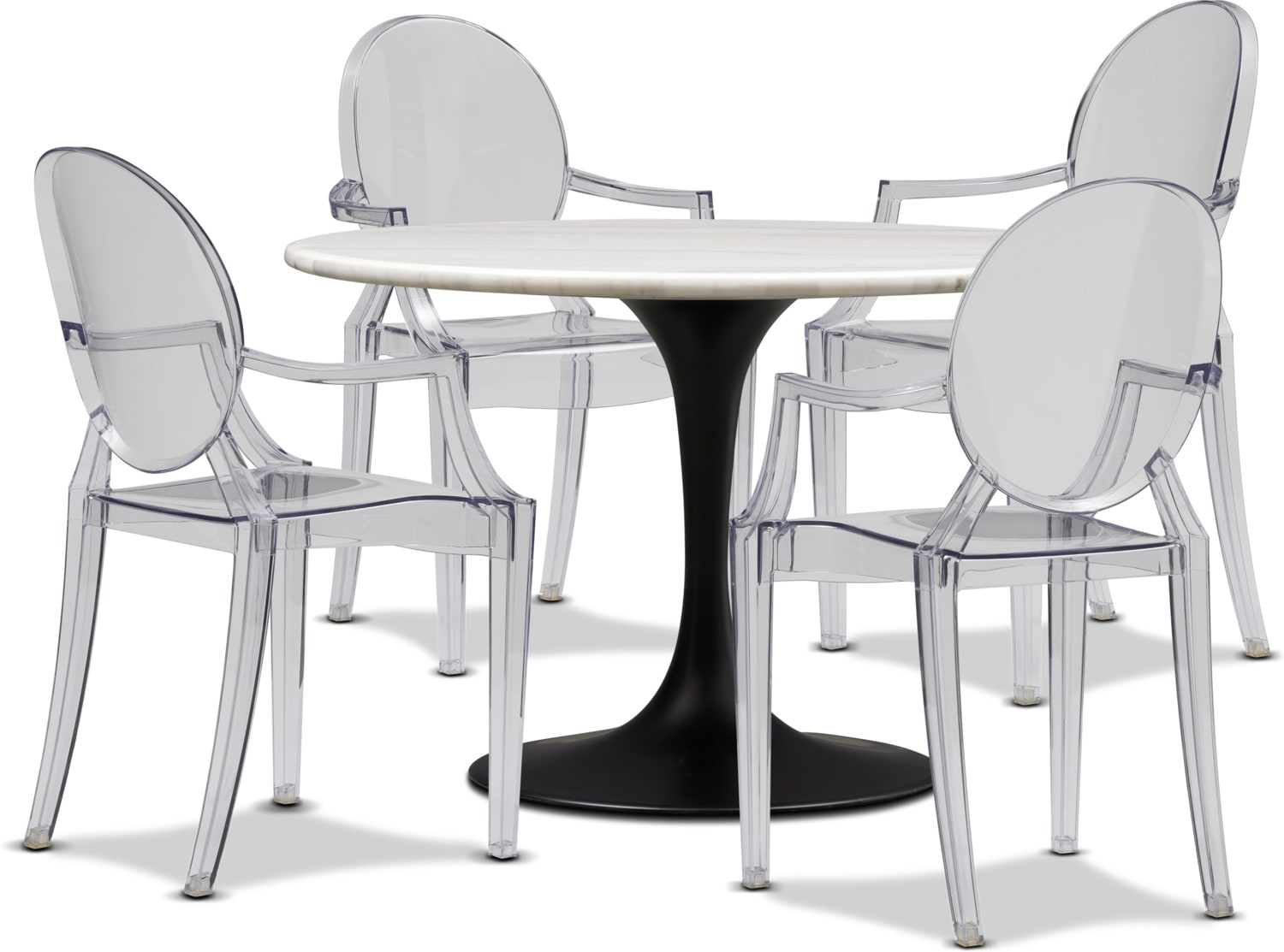 Dining Room Furniture - Lillian Dining Table and 4 Arm Chairs - Clear