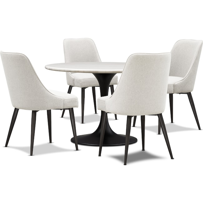 Dining Room Furniture - Lillian Dining Table and 4 Upholstered Side Chairs - Light Gray