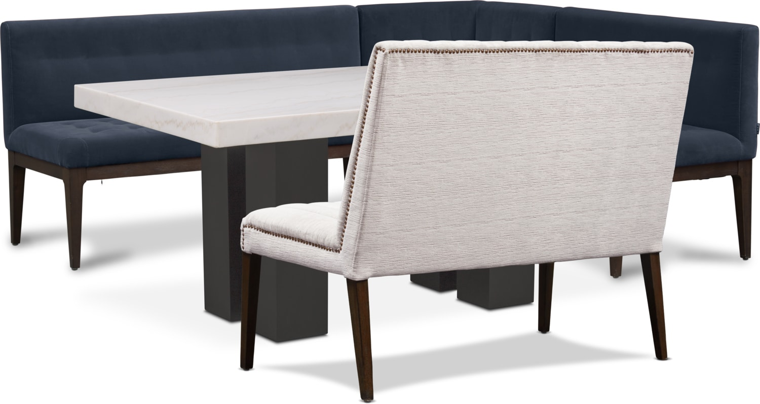 Artemis Marble Dining Table, Corner Banquette, and Bench - Shadow/Oyster