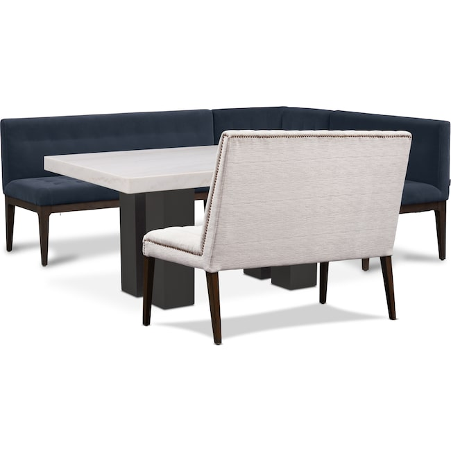Dining Room Furniture - Artemis Marble Dining Table, Corner Banquette, and Bench - Shadow/Oyster