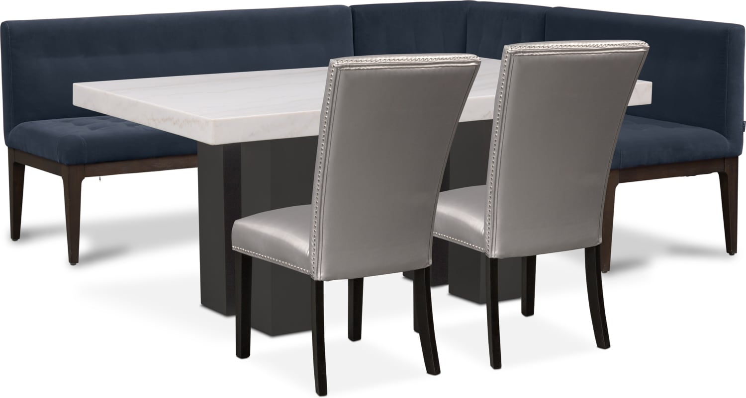 Artemis Marble Dining Table, Corner Banquette, and 2 Upholstered Dining  Chairs