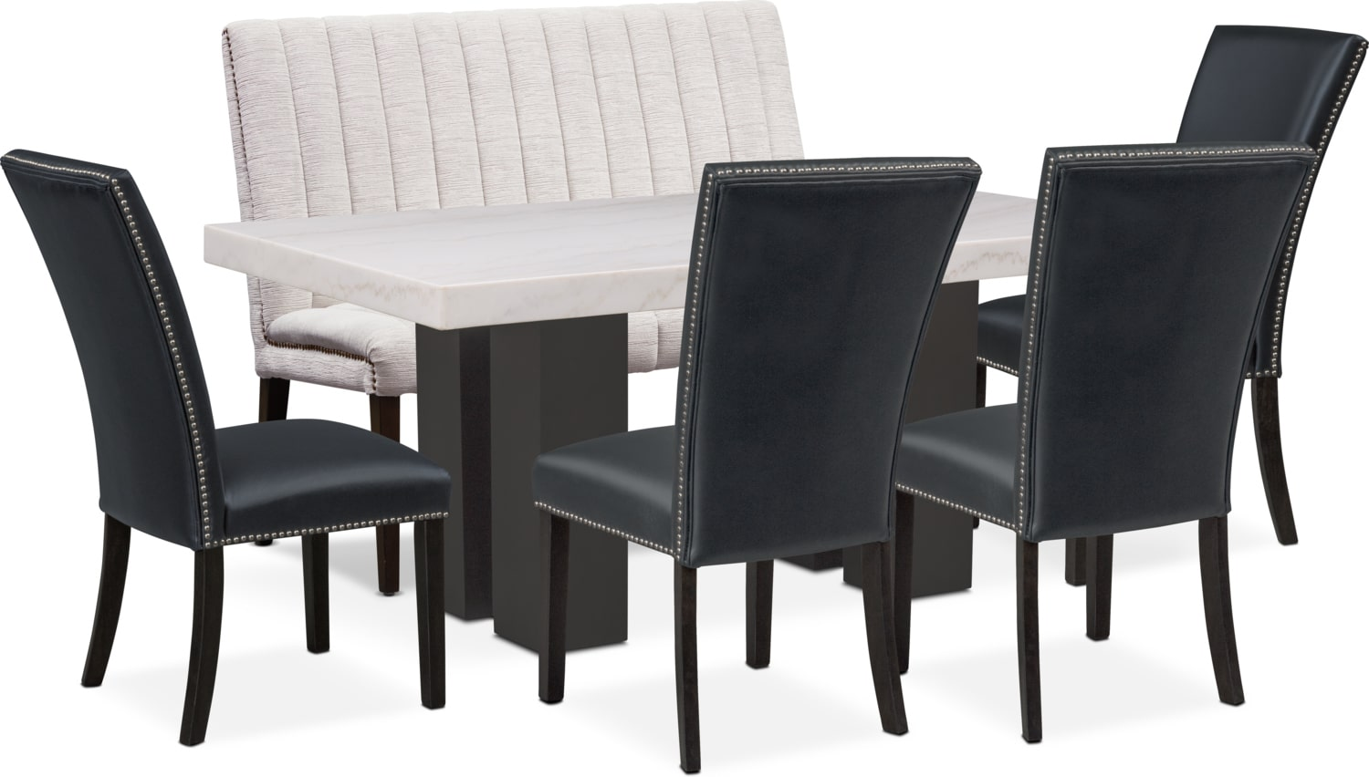 Dining Room Furniture - Artemis Marble Dining Table, 4 Upholstered Dining Chairs, and Bench