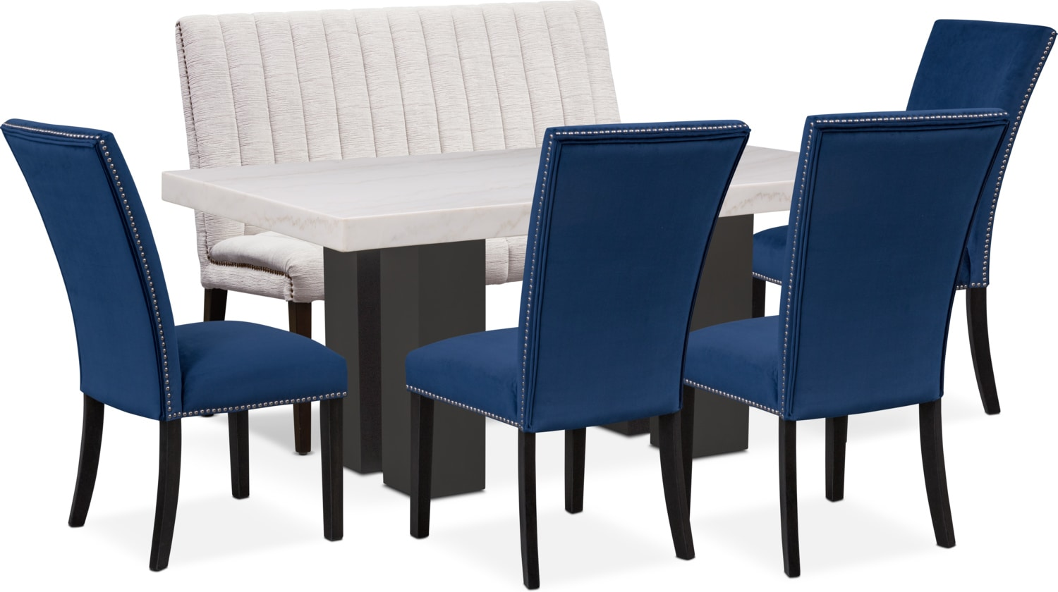 Artemis Marble Dining Table, 4 Upholstered Dining Chairs, and Bench