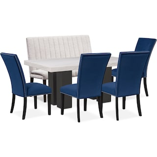 Artemis Dining Table, 4 Upholstered Side Chairs, and Bench - Blue/Oyster
