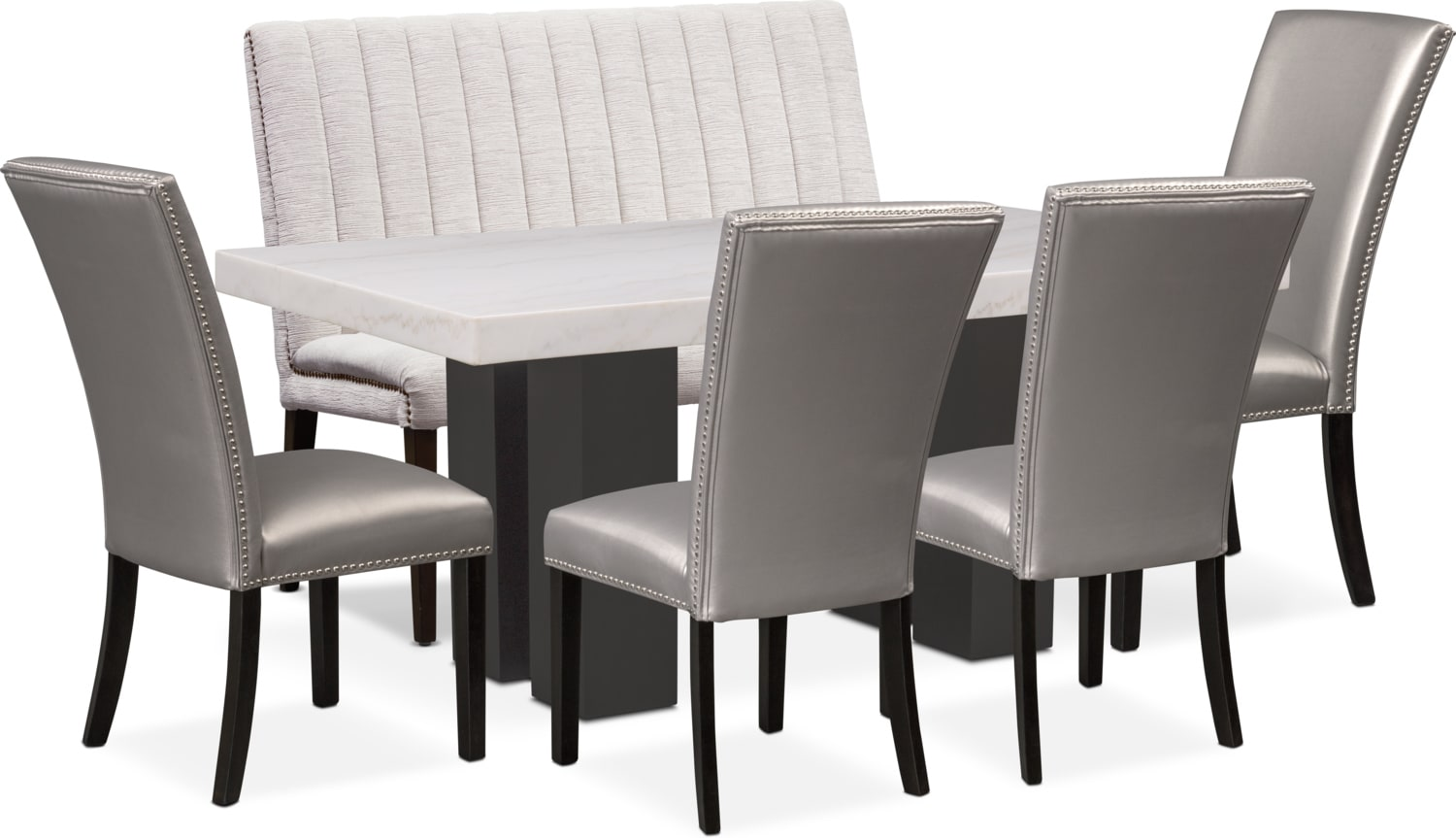 Dining Room Furniture - Artemis Dining Table, 4 Upholstered Side Chairs, and Bench