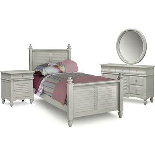 Seaside 6-Piece Twin Bedroom Set - Gray