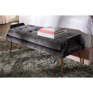 TOV Bright Eyed Upholstered Bench - Charcoal