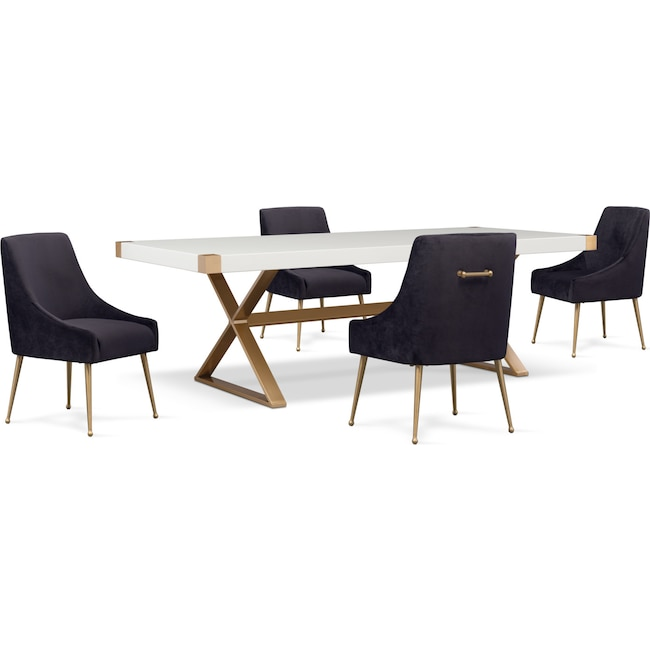 Dining Room Furniture - TOV Art Deco Dining Table and 4 Upholstered Side Chairs - Black