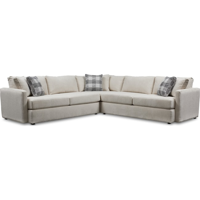 Living Room Furniture - Garrett 3-Piece Sectional - Beige