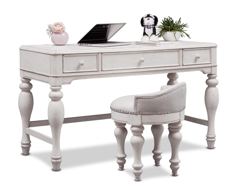 Bedroom Furniture - Florence Vanity Desk and Stool - Antique Linen