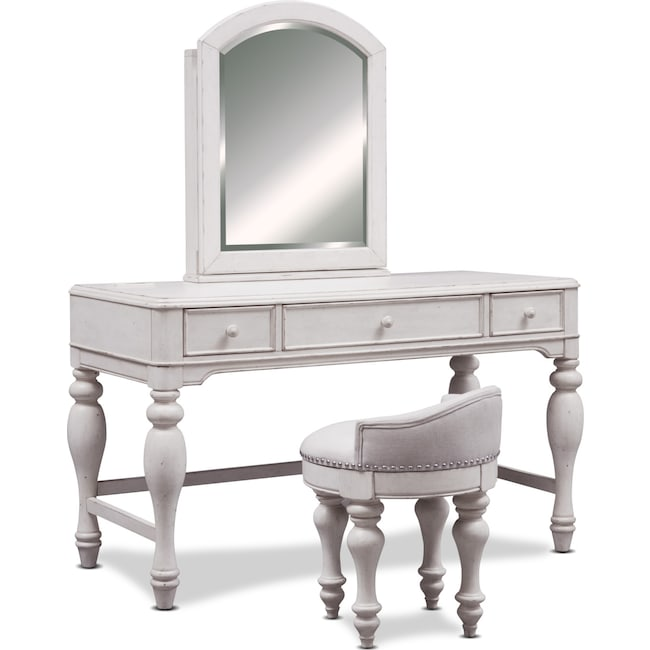 Bedroom Furniture - Florence Vanity Desk with Mirror and Stool - Antique Linen