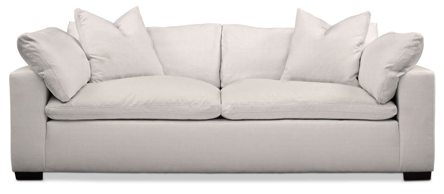 Living Room Furniture - Plush Sofa - Ivory