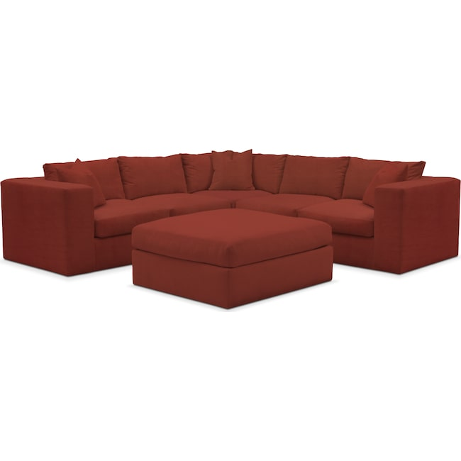 Living Room Furniture - Collin 5-Piece Sectional with Ottoman