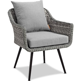 Palm 2 Outdoor Chairs and End Table Set - Gray
