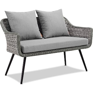 Palm Outdoor Loveseat, 2 Armchairs, and Coffee Table Set - Gray