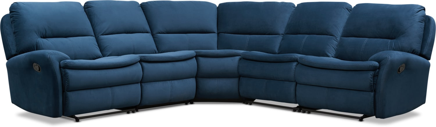 Living Room Furniture - Cruiser 5-Piece Manual Reclining Sectional with 2 Reclining Seats - Ink