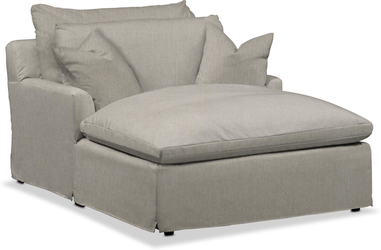 Living Room Furniture - Plush Chaise - Oatmeal