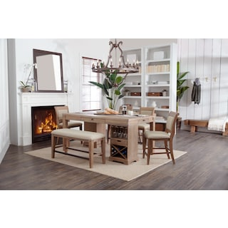 August Counter-Height Island, 4 Upholstered Stools, and Bench Set - Latte