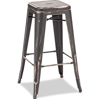 Biggs Set of 2 Barstools - Black/Gold