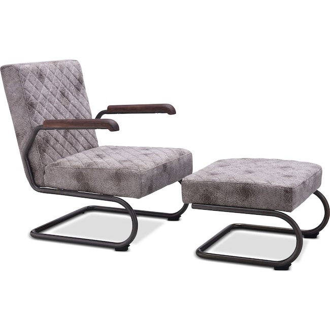 Living Room Furniture - Davis Lounge Chair and Ottoman Set