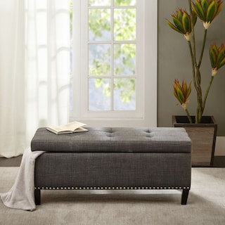 Eleanor Upholstered Storage Bench - Charcoal
