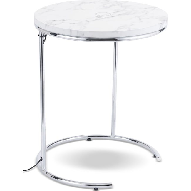 Accent and Occasional Furniture - Gilroy Wireless Charging Side Table - White