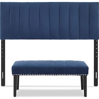 Stella Queen Upholstered Headboard and Bench Set