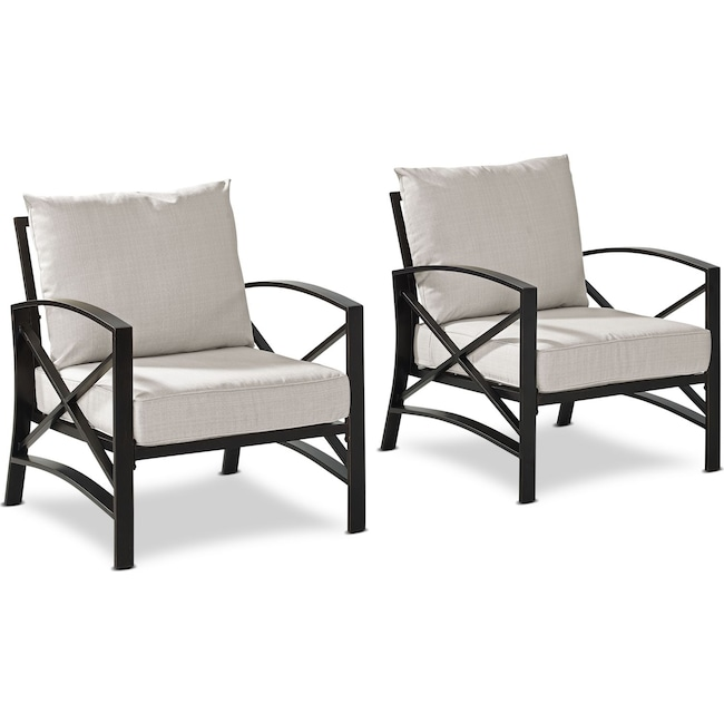 Outdoor Furniture - Clarion Set of 2 Outdoor Chairs - Oatmeal