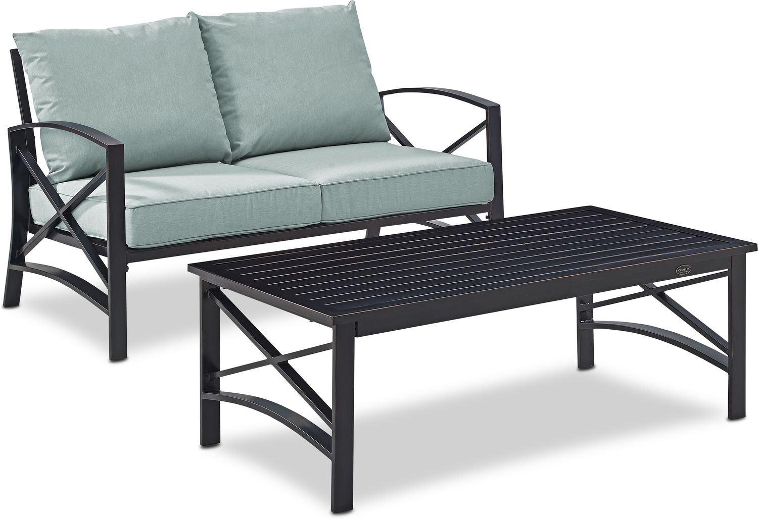 Outdoor Furniture - Clarion Outdoor Loveseat and Coffee Table Set