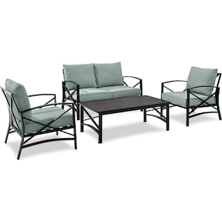 Clarion Outdoor Loveseat, 2 Chairs, and Coffee Table Set - Mist