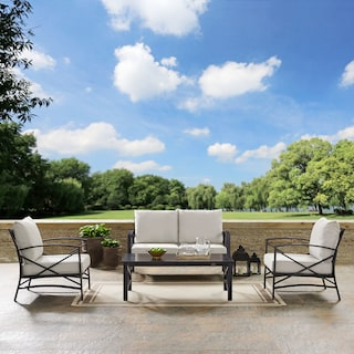 Clarion Outdoor Loveseat, 2 Chairs, and Coffee Table Set - Oatmeal