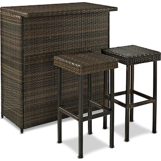 Aldo Outdoor Counter-Height Bar and 2 Stools - Brown