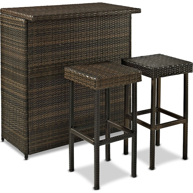 Outdoor Furniture - Aldo Outdoor Counter-Height Bar and 2 Stools - Brown
