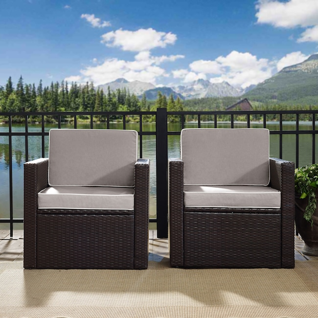 Outdoor Furniture - Aldo Set of 2 Outdoor Chairs and End Table Set - Gray